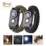 TRSCIND Überlebensarmband, 6-in-1 Paracord Survival Armband mit Multitool, SOS Light, Feuerstahl, Kompass
