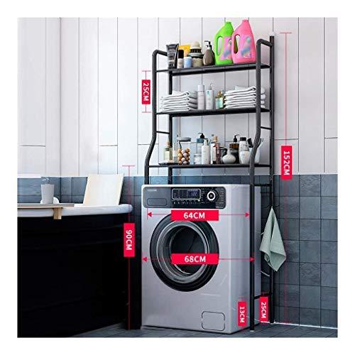 AYHa Regal für Waschmaschine Rack-dreischichtigen Waschmaschine, Boden-Speicher-Halter, Schmiedeeisen Waschmaschine Tür, platzsparende Helfer,Schwarz -