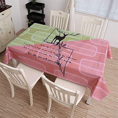 QWEASDZX Tischtuch Digitaldruck Leicht und atmungsaktiv Ölbeständiges Antifouling Rechteckiges Tischtuch Geeignet für drinnen und draußen Mehrweg 140x180cm -