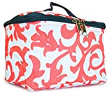 Damask - Grey Coral : NGIL Cosmetic Pouch, Floral Damask Print (Coral White)
