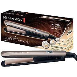 Remington S8540 Fer à lisser, Lisseur Keratin Protect, Plaques Flottantes Céramique Avancée, Soin Kératine Huile d'Amande, 9 Températures