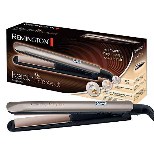 Remington Glätteisen S8540 (keramikbeschichtete Stylingplatten mit Keratin & Mandelöl, digitales Display, 10 Temperatureinstellungen 150-230°C, inkl. Aufbewahrungstasche) Haarglätter Keratin Protect