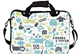 """Snoogg Lifestyle Pattern 2562 15"""" 15.5"""" 15.6"""" inch Laptop Notebook SlipCase With Shoulder Strap Handle Sleeve Soft Case With Shoulder Strap Handle Carrying Case With Shoulder Strap Handle for Macbook Pro Acer Asus Dell Hp Sony Toshiba"""