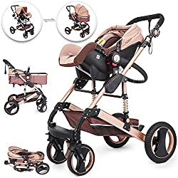 BuoQua Baby Travel System 3 in 1 Baby Stroller Gold Foldable Baby Travel Anti Shock Springs High View Baby Pram Stroller with Baby Basket