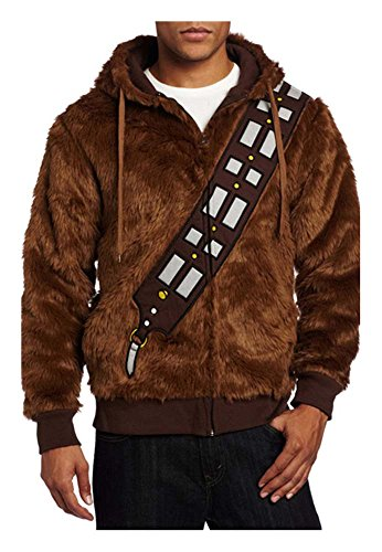 Star Wars Chewbacca Kostüm Herren Hoodie Braun Warm -