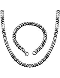 1 Collar Cadena + 1 Pulsera de Acero Inoxidable Sólido Negro Plata Oro 50 55 60 cm Para Hombre Mujer Enlace Brazalete