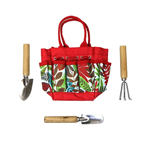 3Stück Turn over Größe Gartenarbeit-Set mit Blatt Bedruckte Leinwand Tasche, Rot, rot, 28x21x9 cm