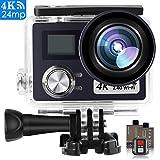 POSIVEEK Action Kamera WiFi Sports cam 4K Camera 24MP Ultra Full HD Unterwasserkamera Helmkamera wasserdicht mit 2 verbesserten Batterien und kostenlose Accessoires