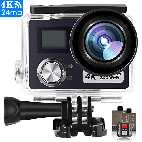 POSIVEEK Action Kamera WiFi Sports cam 4K Camera 24MP Ultra Full HD Unterwasserkamera Helm