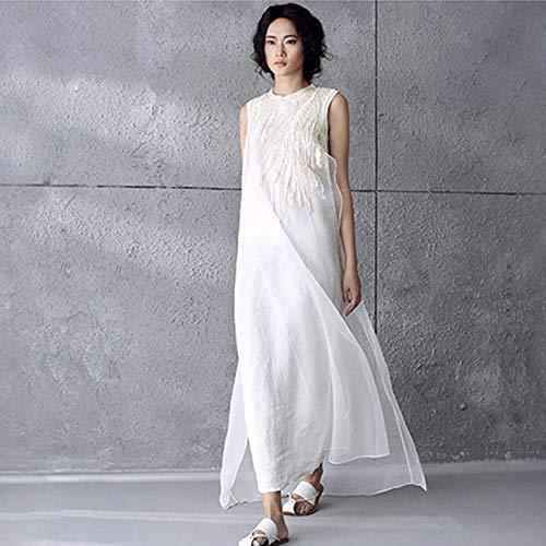 ALEIGEI Sommer Stil Solide Weiße Seide Stickerei Chiffon Ärmellose Frauen Kleid Marke Beiläufige Lose Vintage Lange Maxi Kleider XS Weiß -