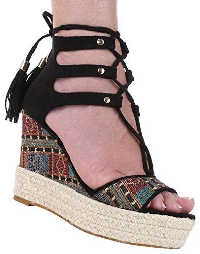 Damen Pumps Sandaletten Schnür Schuhe Trrwq Keilabsatz Wedges Schwarz 0Okw8PXn