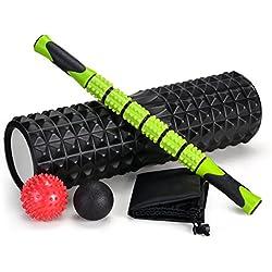 """Juego de rodillos de espuma de gran tamaño 5-en-1 con bolas de masaje y bolas de masaje, rodillo de espuma de alta densidad de 18 """"para terapia muscular y ejercicio de equilibrio"""