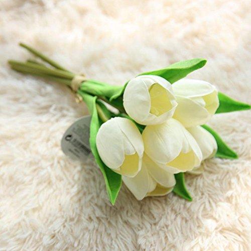 Unechte Blumen,LuckyGirls Künstliche Deko Blumen Gefälschte Blumen PU 6 Köpfe Tulip Hortensien Braut Hochzeitsblumenstrauß für Haus Garten Party Blumenschmuck (Weiß)
