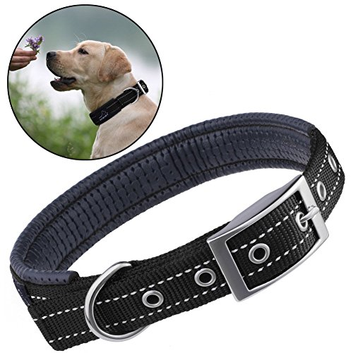 reflective-dog-collar-petbabab-padded-metal-buckle-adjustable-training-collar-for-dogs-black