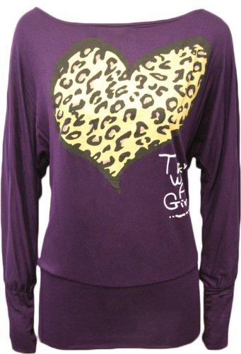 Nouveau femmes plus longue baggy taille leopardherz flügelhülse chiffons tops Violet