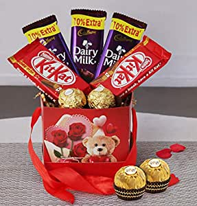 TIED RIBBONS Anniversary Birthday Friendship Day Rakshabandhan Best Gifts for Brother Sister Boyfriend Girlfriend Wife Husband Friend ( Dairy Milk, Kitkat and Ferrero Rocher Chocolates in Gift Box)