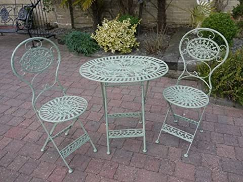 Green Oval Bistro Dining Set With Foldable Table and Two Chairs