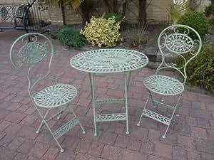 Green Wrought Iron 3 Piece Bistro Style Garden Patio ...