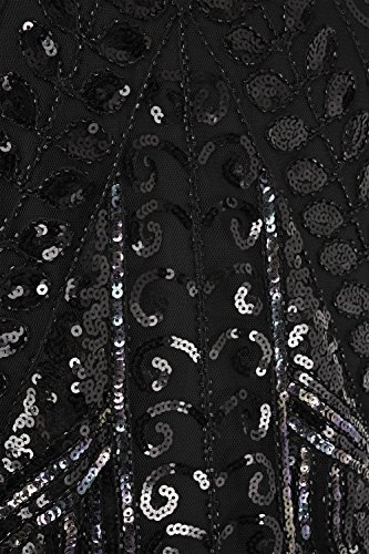 Kayamiya Damen 1920er Jahre Inspiriert Perlen Paisley Art Deco Franse Flapper Kleid Elegant Schwarz