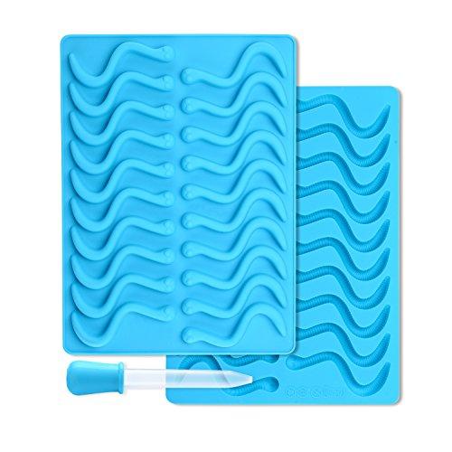 MUZIYU 2er Silikon Gummiwürmerform mit 2 Pipetten für Gummiwürmerchen Schokoladen Eiswürfel Crayon Candle丨2-Jahre GARANTIE