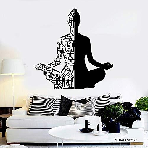 mmzki Gesunder Lebensstil Sport Wandtattoos Meditation Yoga Wandaufkleber Buddha Wandkunst Wandbild Für Yoga Studio Home Decoration 56x59 cm (Home-yoga-studio)