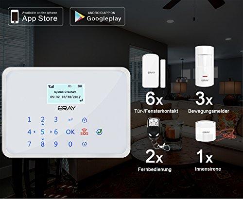 ERAY GT1 GSM Funk Alarmanlage mit LCD Display und Touchscreen, deutsche Menü + deutsche Aussprache, SMS und Anruf, Teilscharf und Zeitverzögerungsalarm oder -aktivieren (iOS/Android APP), Für die Sicherheit des Zuhauses, Büros, oder Geschäftes (Umfangreichem Zubehör+Solar Power Sirene)