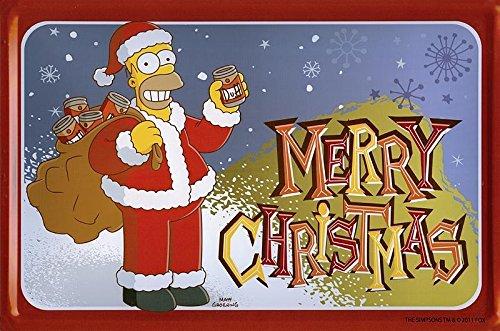 The Simpsons Blechschild Santa Homer (30cm x 20cm) (Simpsons Santa)
