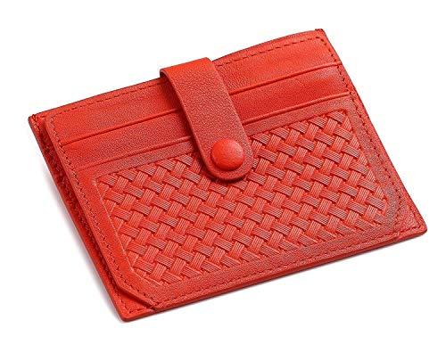 flintronic Moda Tarjeta de Crédito Slim, RFID Bloqueo Monedero de Cuero, Mini Billetera para Tarjetas de Crédito, el Estilo Tejida (Naranja)