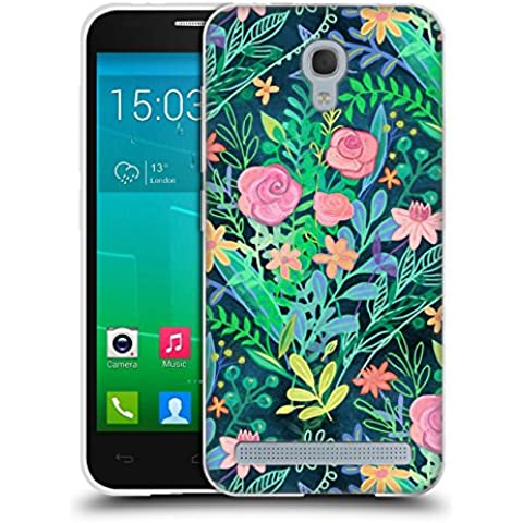 Official Micklyn Le Feuvre Roses And Green Messy Posie Floral Patterns 2 Soft Gel Case for Alcatel Idol 2 Mini