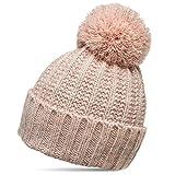 Caspar MU087 klassische Damen Winter Bommelmütze, Größe:One Size, Farbe:rosa