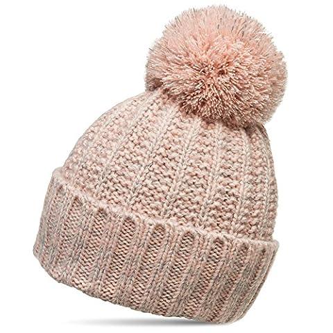 CASPAR Unisex klassische Winter Mütze / Bommelmütze / Strickmütze mit großem Bommel - viele Farben - MU087, Farbe:rosa;Größe:One Size