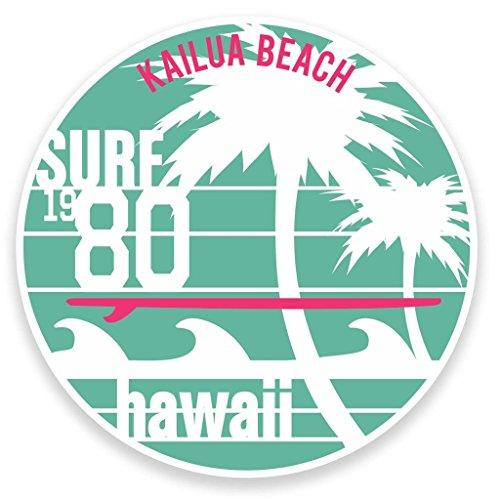 Preisvergleich Produktbild 2x Hawaii Kailua Beach Surf Vinyl Aufkleber Aufkleber Laptop Reise Gepäck Auto Ipad Schild Fun # 9118 - 10cm/100mm Wide
