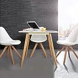 CAGÜ Design Retro Lounge ESSTISCH [Göteborg] Weiss-Eiche 80cm x 80cm im SKANDINAVISCHEN Stil, Neu!