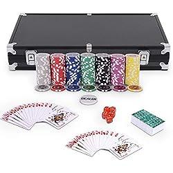 GOPLUS Coffret de Poker avec 300 Jetons, Mallette de Poker en Aluminium - 2 Jeux de Cartes - 5 Dés - Poker Jeu De Casino (Noir)