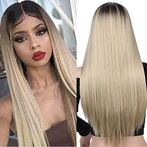 ATAYOU® Damen Lange Gerade Blond Ombre Synthetische Perücken Für Frauen (Blond Ombre B) -