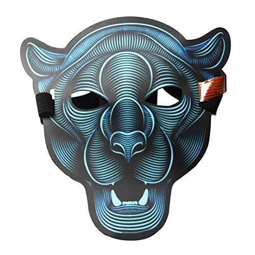BESTOYARD Halloween-Maske mit LED-Licht, lustige Leuchtende Stimmsteuerung, Maskerade, Party, Cosplay, Kostüm, Maske, Ethylenvinylacetat, Tiger 1, 16 x 15 x 3cm