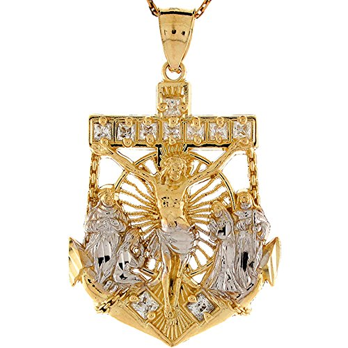 10K Bicolore Oro Bianco Cz Gesù Crocifisso e santi Anchor Ciondolo religioso