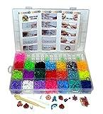 6000 Teile XXL Loom Starter Kit Set Bänder Bandz Gummibänder mit Charms Anhänger Webrahmen Haken S-Clips NEU von Webrahmen Set