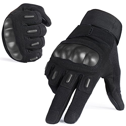 WTACTFUL Touch Screen Rubber Hard Knuckle Full Finger Gloves for Cycling Motorcycle Motorbike ATV Bicycle Hunting Hiking Riding Outdoor Sports Gear Black Size Medium