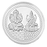 Silverwala 999 Silver Purity Ganesha + Lakshmi Subh Labh 5 Gram Embossed with Matt Finish Coin