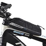 FlexDin Fahrradtasche Energy Oberrohrtasche für Rennrad-Rennen/Triathlon-Fahrräder, Rahmentasche Wasserdicht Schwarz 0.4L