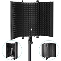 Neewer Escudo Acústico de Aislamiento para Micrófono : Tri-Pliegues Estudio Paneles de Espuma Absorbente de Sonido para Cualquier Micrófono de Condensador Estudio Aparato para Grabación (Negro)