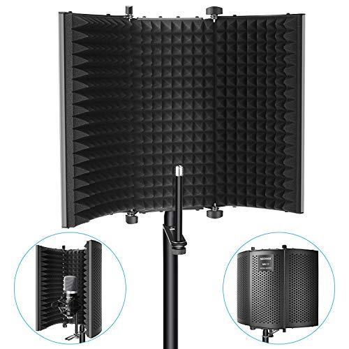 Neewer Paravento Schermo Fonoassorbente d'Isolamento per Microfono - Pieghevole a 3 Sezioni con Schiuma d'Assorbimento per Microfoni a Condensatore Registrazioni Impianti da Studio (Nero)