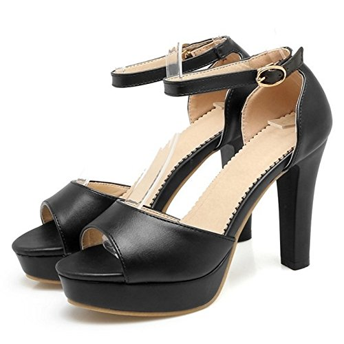 COOLCEPT Femmes Mode Cheville Sandales Peep Toe Bloc Plateforme Chaussures Noir