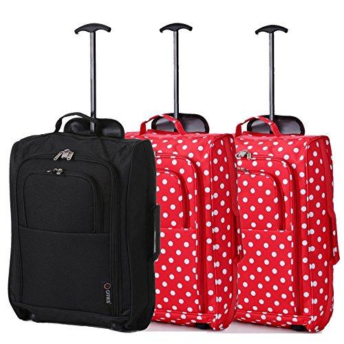 Lot de 3 Super Léger de Voyage Bagages Cabine Valise Sac à Roulettes (Noir + Polka-Rouge x 2)