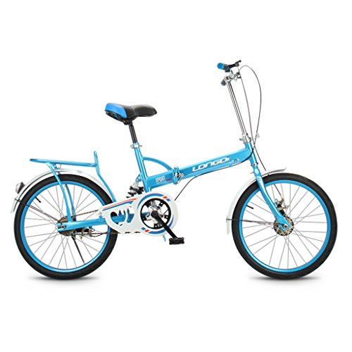 GAIXIA Klapprad 20 Zoll Erwachsene Single Speed   Stoßdämpfer High Carbon Steel Fahrräder für Männer und Frauen Kinderfahrrad, schwarz/blau/pink/grün Kinderfahrrad (Color : Blue) -