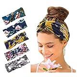 Zoestar Boho Criss Cross Hoofdbanden Blauw Yoga Geknoopte Haarbanden Stretchy Hoofd Wraps Vintage Elastische Haar Sjaals voor Vrouwen (Pack van 5)