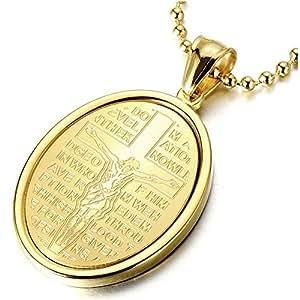 Or Croix Christ Jésus Crucifix - Médaille Miraculeuse Pendentif Collier pour Homme Femmes - Acier - avec 60CM Chaîne
