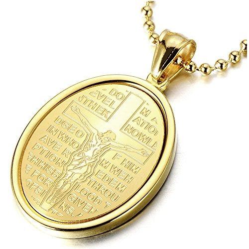 Oro Miracolosa Medaglia, Crocifisso Croce, Gesù Cristo, Collana con Pendente da Uomo Donna, Ciondolo Acciaio