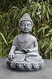 Buddha Figur in Schiefergrau